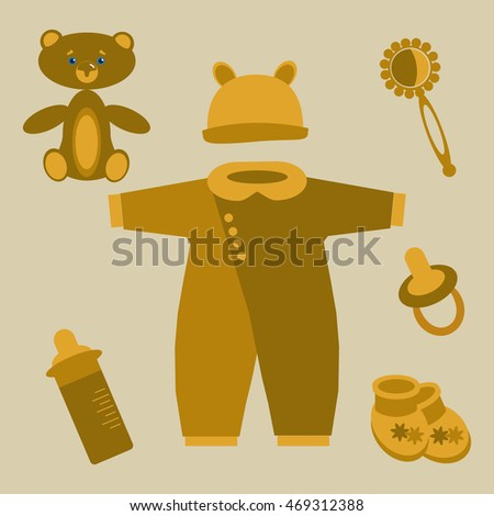 Newborn items in light brown colors