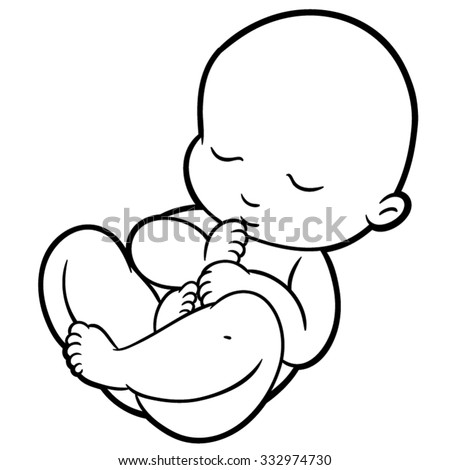 newborn little baby smiling with small arms and legs stylized simplified form suitable for icons and logos - stock vector
