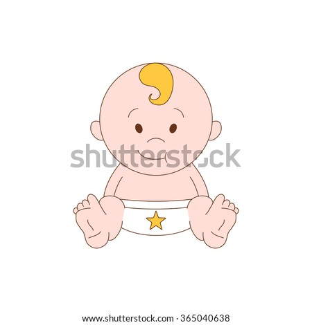 newborn little baby - stylized art for logos, signs, icons and design cards, invitations and baby shower. vector illustration - stock vector