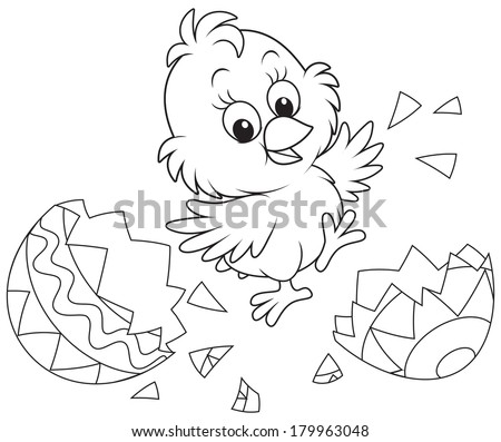 Newly hatched Easter chicken - stock vector