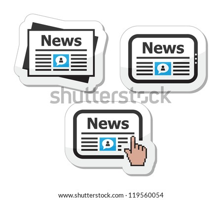 Newpaper, news on tablet icons set as labels - stock vector