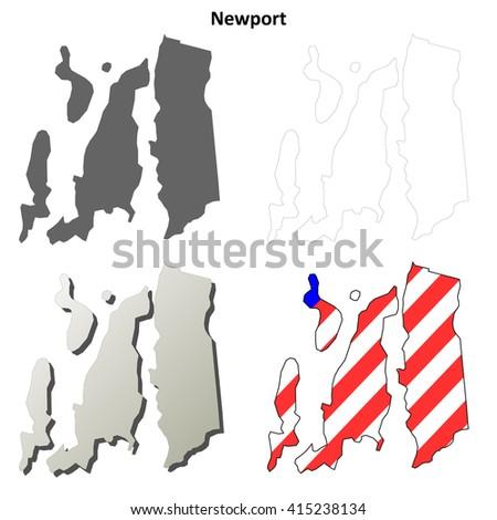 Newport County, Rhode Island blank outline map set - stock vector