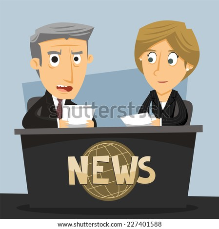 News Anchor Journalist Anchorwoman and Anchorman TV News Broadcast, vector illustration cartoon. - stock vector