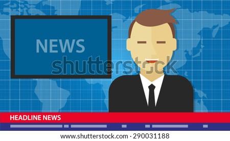 news anchor men headline tv - stock vector
