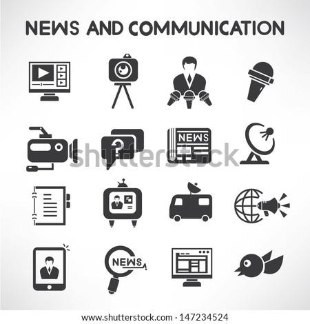 news and communication icons set, news reporter icons, mass communication icons  - stock vector