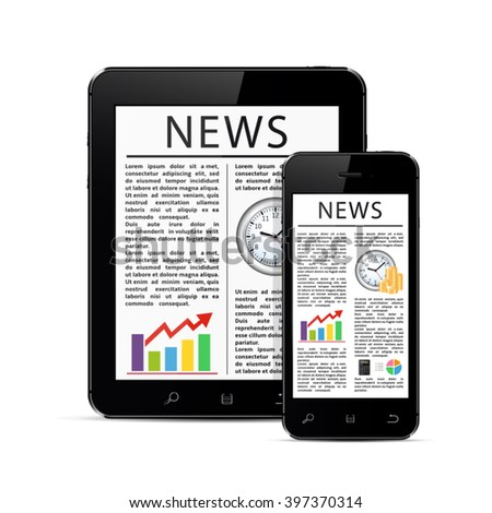 News articles on modern digital tablet and mobile smart phone - stock vector