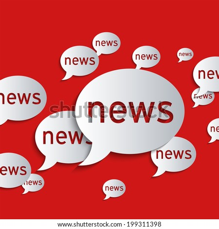 News balloons on a red background. Flat design illustration. To add shadows to texts, symbols and objects, please activate the layers! - stock vector
