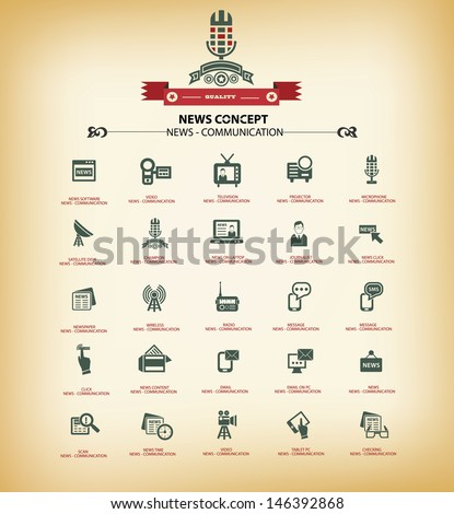 News & Communication icons,Vintage background version,vector - stock vector