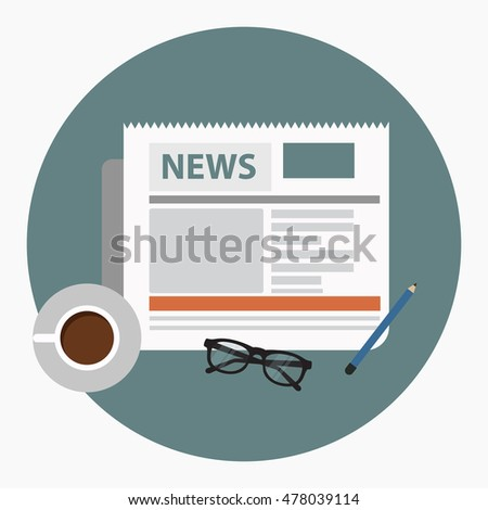 News concept. Newspaper with coffee, glasses and pencil. Flat vector.