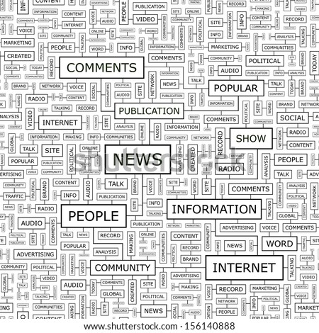 NEWS. Concept vector illustration. Word cloud with related tags and terms. Graphic tag collection. Wordcloud collage.  - stock vector