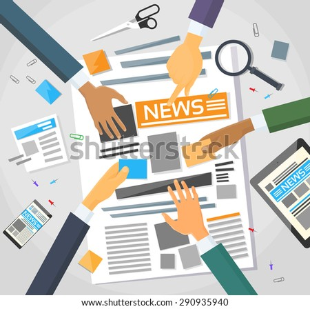 News Editor Desk Workspace, Making Newspaper Creating Article Writing Journalists Crew, Hands Team Group Vector Illustration - stock vector