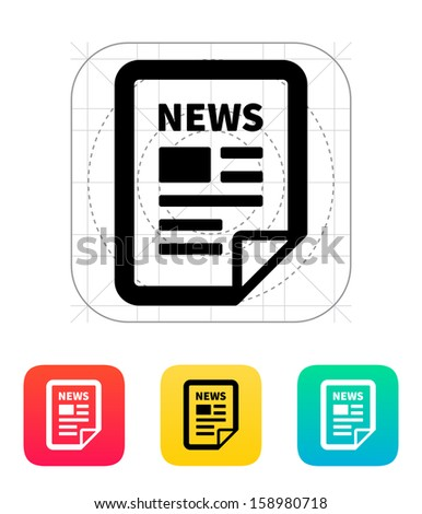 News file icon. Vector illustration. - stock vector