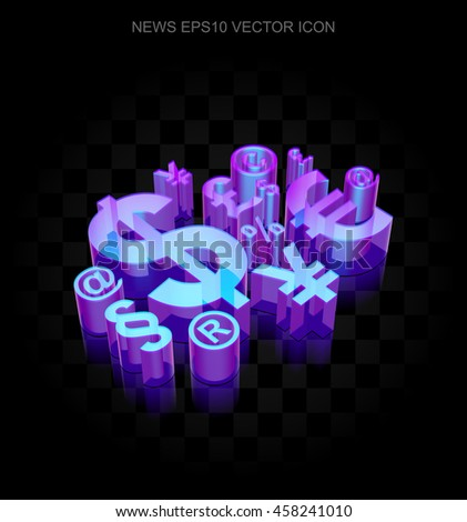News icon: 3d neon glowing Finance Symbol made of glass with transparent shadow on black background, EPS 10 vector illustration.