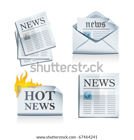 News icon set - stock vector