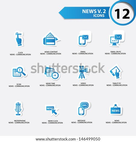 News icon set 2,blue version vector - stock vector