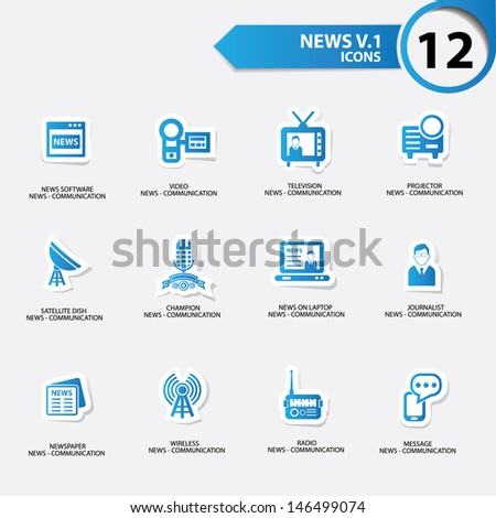 News icon set 1,blue version vector - stock vector