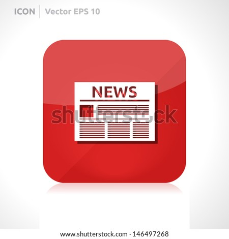 News icon | vector design template | color red | icon set | abstract with symbol | - stock vector