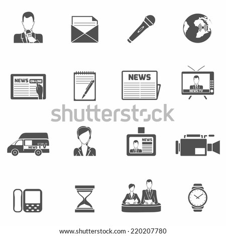 News media social communications black icons set isolated vector illustration - stock vector