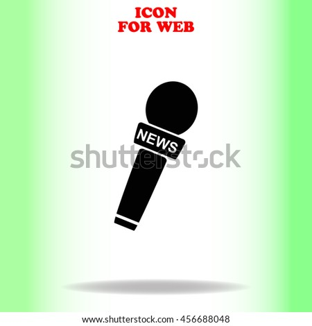 News microphone web icon. Black illustration on white background - stock vector