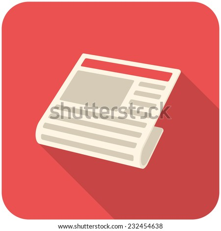 News, modern flat icon with long shadow - stock vector