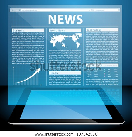 News on generic Tablet PC. Vector illustration - stock vector