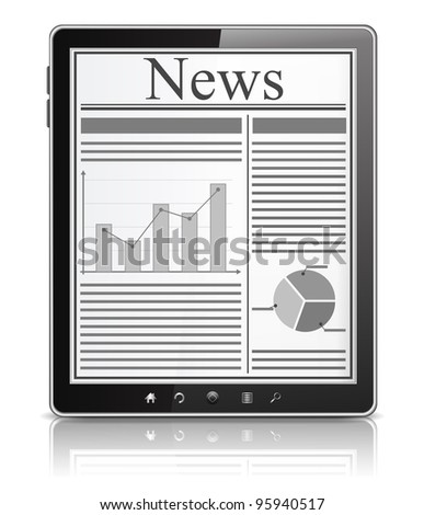 News on the screen of Tablet PC, vector eps10 illustration - stock vector