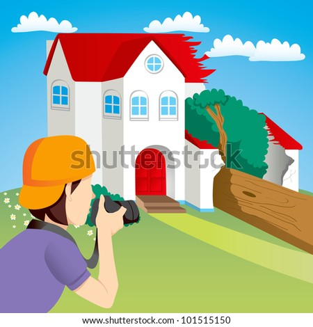 News photographer taking photos of house destroyed by falling tree
