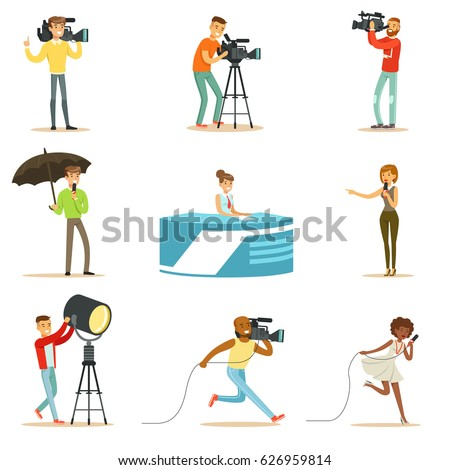 News Program Crew Of Professional Cameramen And Journalists Creating TV Broadcast Of Live Television Set Of Cartoon Characters