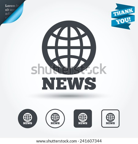 News sign icon. World globe symbol. Circle and square buttons. Flat design set. Thank you ribbon. Vector - stock vector