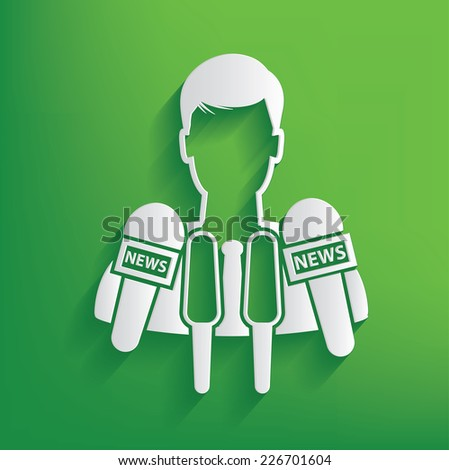 News symbol on green background,clean vector - stock vector
