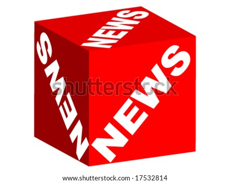 NEWS text on box - stock vector