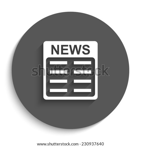 news - vector icon with shadow on a round grey button - stock vector