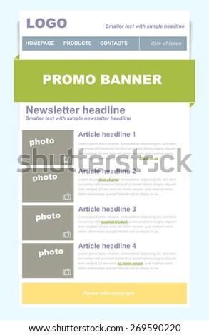 Vector Newsletter Template on logo vector, newsletter button, newsletter icon vector, brochure vector,