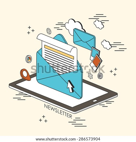 newsletter concept: e-mail and information showing up from tablet in line style  - stock vector