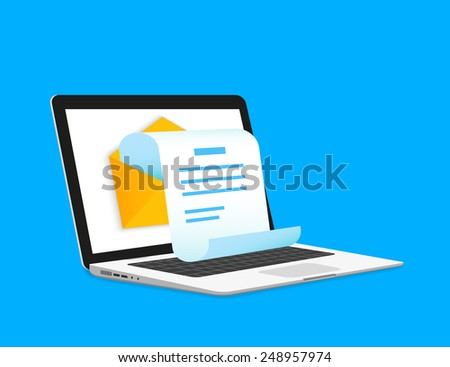 Newsletter illustration with laptop isolated on blue - stock vector