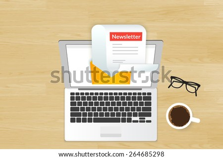 Newsletter illustration with laptop placed on realistic wooden background. Top view with cup of coffee and eyeglasses  - stock vector