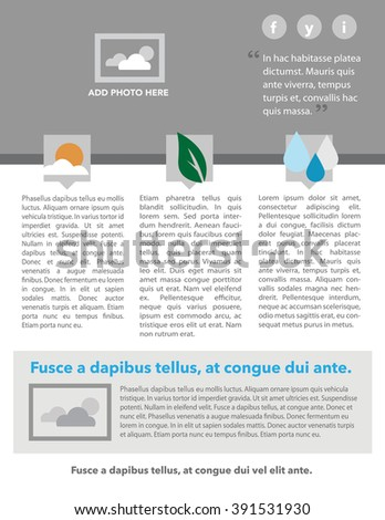 newsletter layout icons quote copy stock vector royalty free