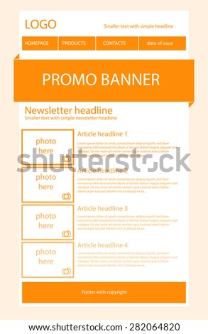 Newsletter light orange template