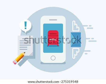 Newsletter notification on smart phone screen concept vector illustration on flat design style. - stock vector
