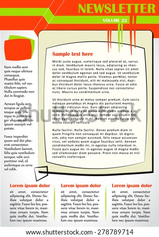 Newsletter or website page layout. Business and non-profit use. Colorful illustration. - stock vector