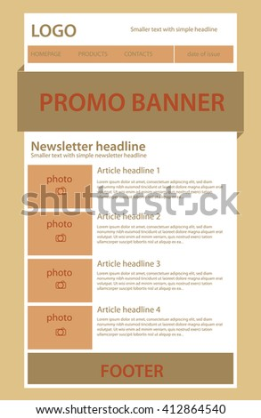 newsletter template business nonprofit organization stock vector