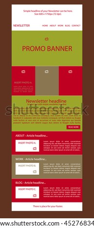 newsletter template for business or non-profit organization - stock vector
