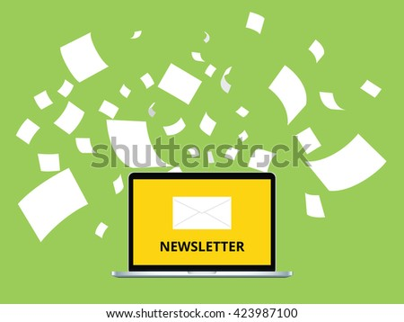 newsletter with letter and laptop notebook and paper flying as background vector graphic illustration - stock vector