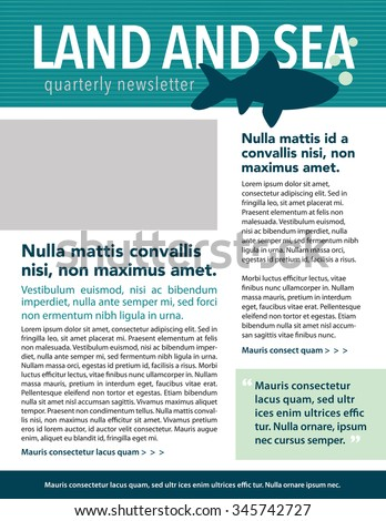 Newsletter with pull quote, headline and copy