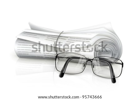 Newspaper and glasses, vector - stock vector