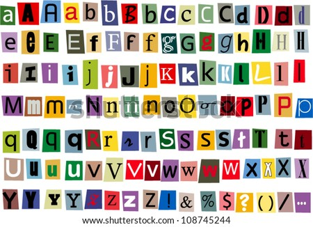 Newspaper and magazine alphabet style vector - stock vector