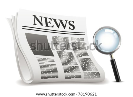 Newspaper and magnifier. Vector - stock vector