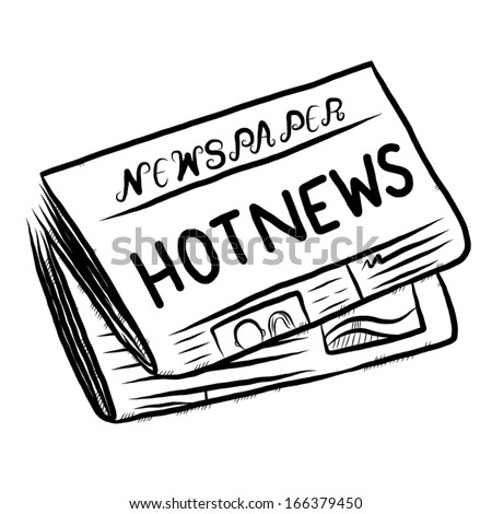 Newspaper Cartoon Black And White Vector Illustration Hand Drawn Sketch Style