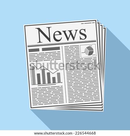 Newspaper, flat design, vector eps10 illustration - stock vector
