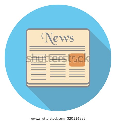 newspaper flat icon in circle
